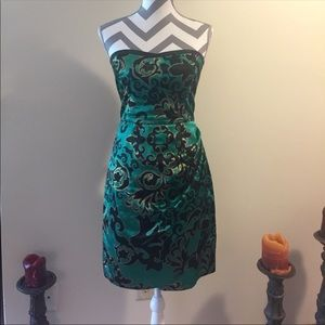 Charlotte Russe green black and gold satin dress